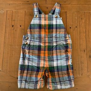 Janie and jack plaid short overalls
